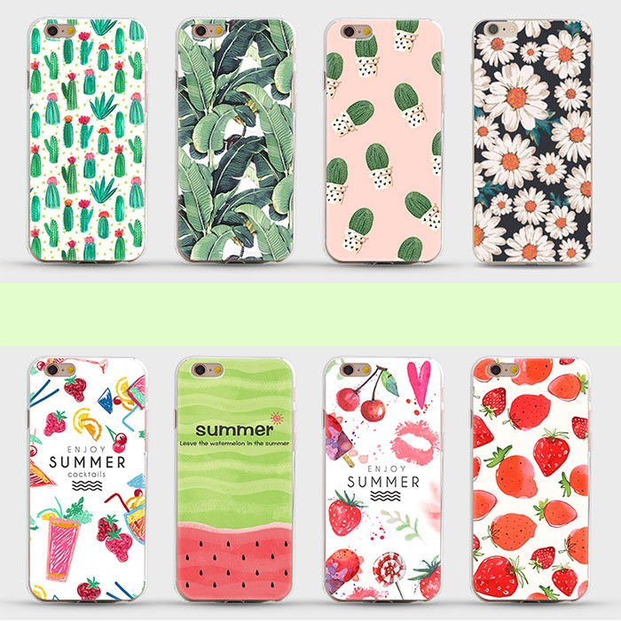 New Arrival Ultrathin Soft TPU Case For Iphone 6 6s 6plus, Flowers Daisy Plants Fruit Cactus Pattern Phone Case Cover