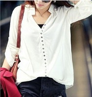2013 KOREA LATEST FASHION DESIGN WOMENS CASUAL V-NECK BLOUSES