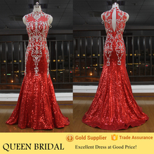 Real Sample Mermaid Sleeveless Red Long Crystal Beaded Evening Dress 2015