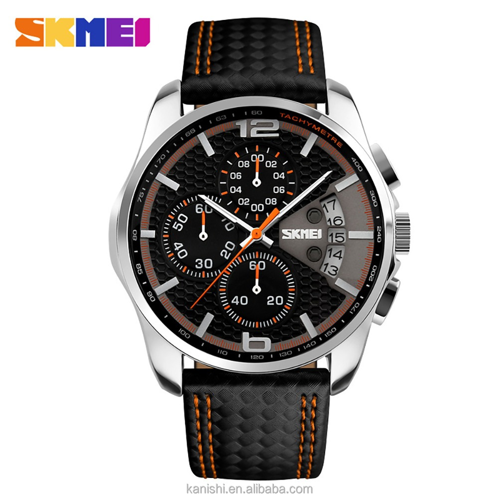 best selling watches Skmei 9106 genuine leather strap quartz stopwatch with Janpan movt