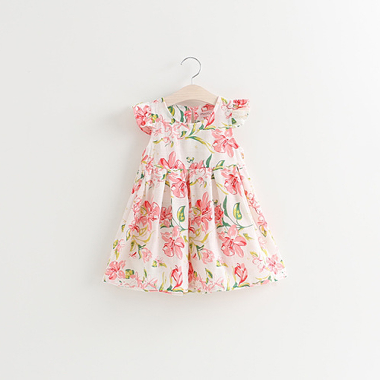 Trendy Sweet Printing Flowers Baby Girl Summer Dress