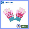 flower jacquard magic child knit gloves