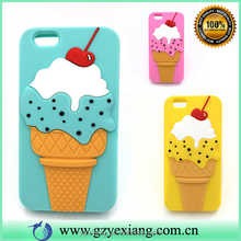 Cute 3d ice cream design case cover silicone phone back cover for iphone 5g case