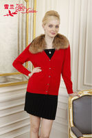 L-059 2013 bright red cardigan cashmere sweater for women
