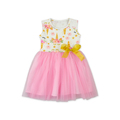 China Factory Hot Selling Kid Clothing Floral Design Pink Tulle Sleeveless Yellow Bowknot Colorful Baby Girl Dress For Party