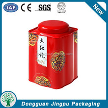Fancy red manufacturer metal tea tin box made in china tea can