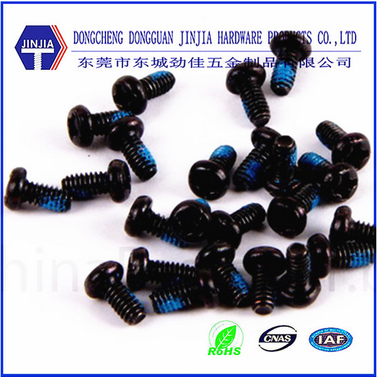 cross recessed black metal screw with nylok pitch for laptop