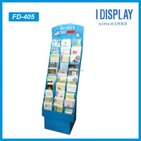 corrugated cardboard display greeting card stand for festivals