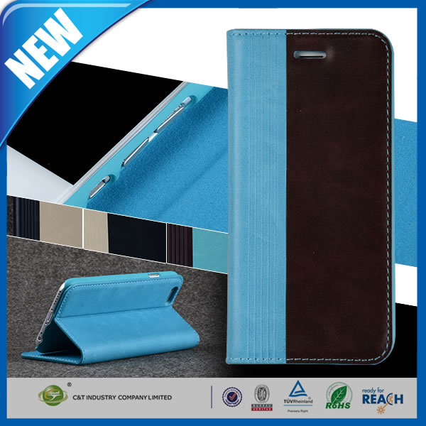 C&T High Quality case stand leather pu smart folio fit slim cover for iphone 6