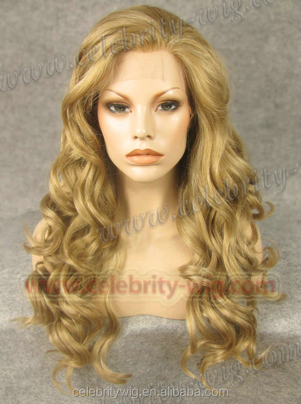 Heat-resistant synthetic lace front LONG CURLY WIG