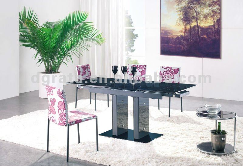 List manufacturers of glass dining table with extension for Table metal extensible