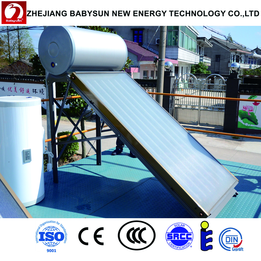 Automatic pressurized split solar system heating water for hotel