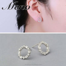 Meno S925 silver stud modern stylish small pure and fresh earrings O model CZ setting hot sale gift