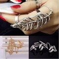 Silver Gold Rhinestone Leaves Chain Linked Two Double Finger Ring Women Aceessory#1142