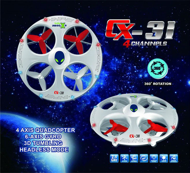 Fantastic New Hot Quadcopter Cheerson CX-31 6-axis 4CH 2.4GHz RC Drone Flying UFO with Headless Mode RTF Kids Gift