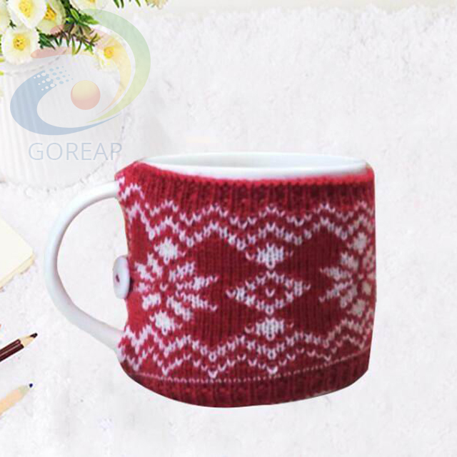 High Quality Wholesale Custom Cheap knitting mug cosy knit fabric ceramic coffee stoneware with for sale