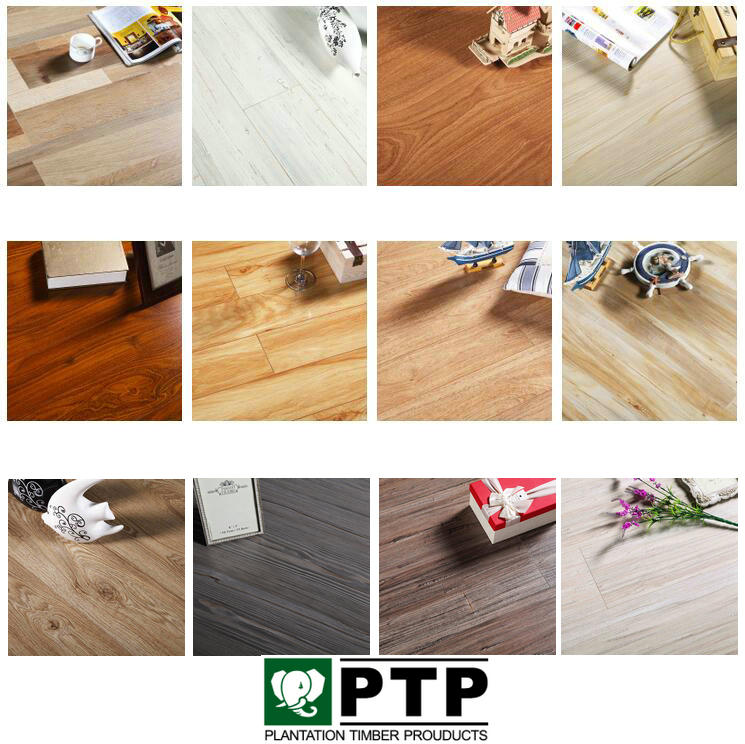 Sichuan Factory Low Price Good Quality HDF Reclaimed Brown Oak Plank 4way bevel piso de madera click Laminate Flooring