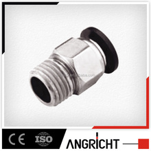 A132 PC equal straight quick Air-Fluid Tee Connector/male tube fitting