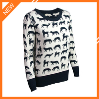 Jacquard crewneck long sleeve latest sweater designs for girls