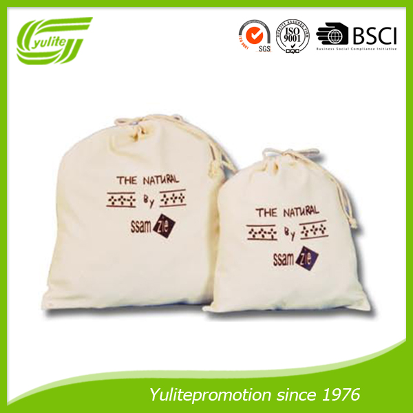 Eco-friendly organic cotton drawstring bags factory wholesale