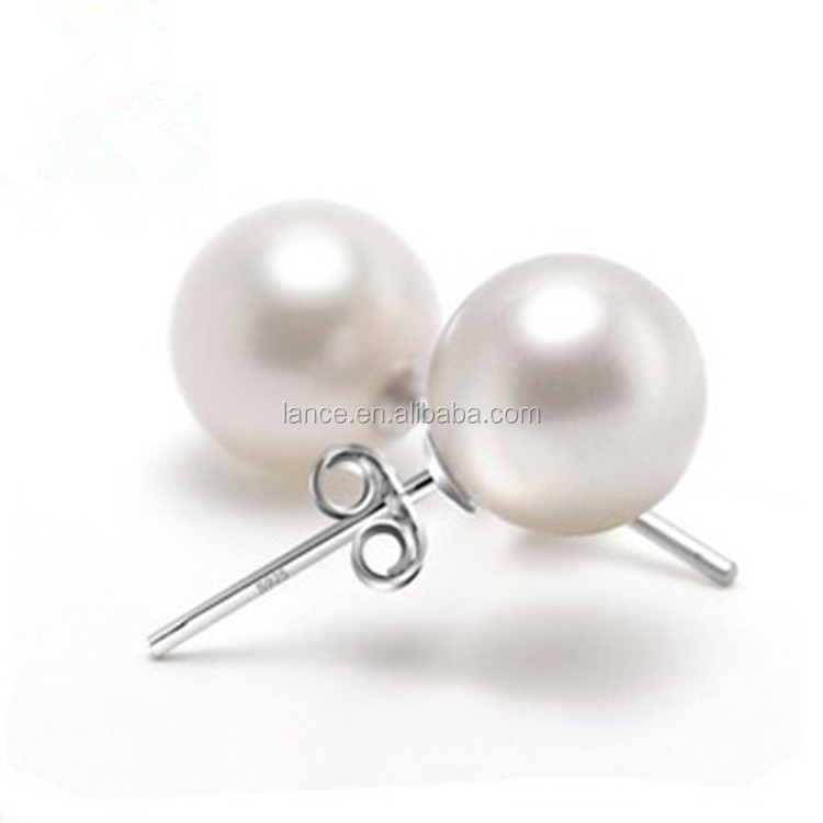 High Imitation Pearl Mother Pearl 925 Sterling Silver Stud Earrings