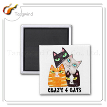 Custom paper promotional advertising tin cheap half cat fridge magnet