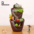 Roogo wholesale resin countryside castle life bonsai flower pots for home decor