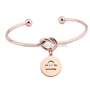 Rose Gold Love Knot Bracelet Tie the Knot Cuff Bangle with Zodiac Signs Disc Charm