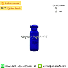 New arrival small 3ml blue sterile glass vial for antibiotic