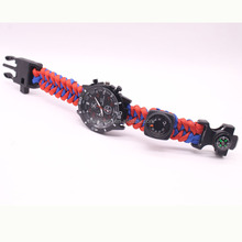 Outdoor seven - core paracord braided multi - functional flint compass watch bracelet