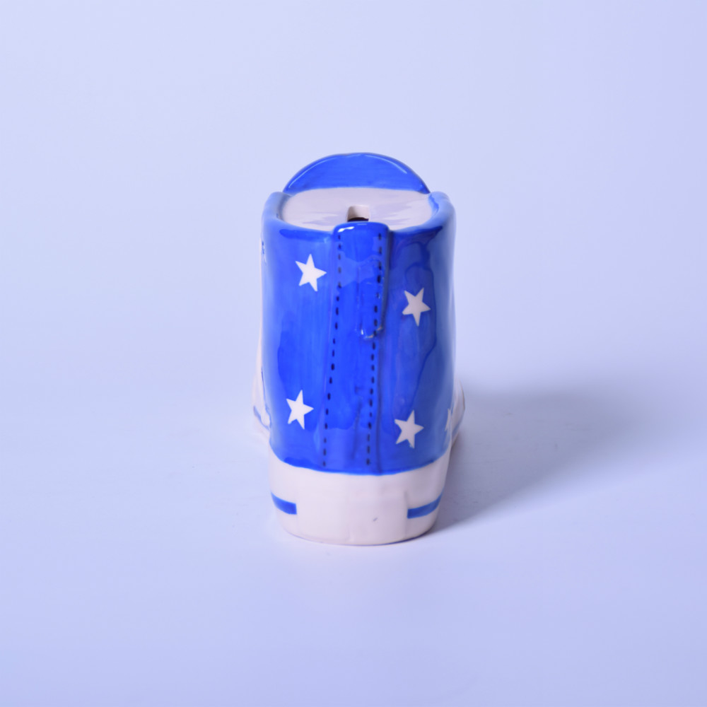 Ceramic Blue Shoes money box,cheap piggy bank,piggy bank money boxes,Hot Sales