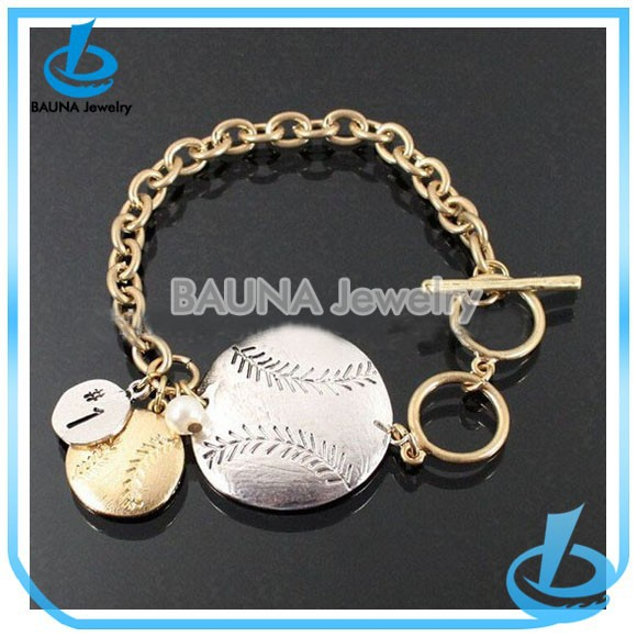 Customized design gold chain double balls charm gold silver baseball bracelet