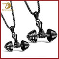 Gold plated Stainless Steel Inspirational Hip Hop Jewelry Dumbbell Pendant Bodybuilding Fitness Jewellery Gym Men Necklace