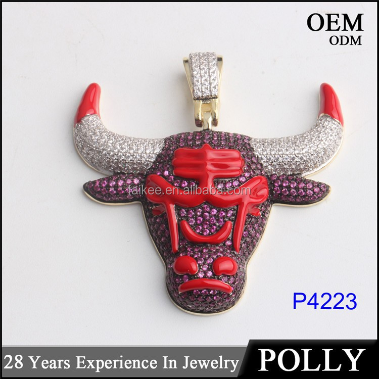 Newest styles 925 sterling silver micro paved bull pendant gold plating enamel silver jewelry