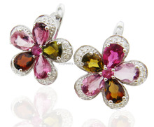 SGE0011 2015 summer new pretty colorful crystal rhinestone flower shape 925 silver clip on earring for lady