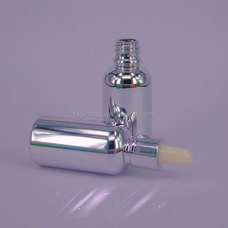 European Silver color 30ml glass dropper bottle with silk screen printing