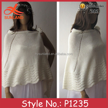 P1235 fashionable infinity knitted bride white crochet triangle shawl