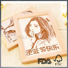 custom special laser carving wooden photo frame OEM