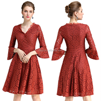 sexy red lace prom dress western style clothing latest fashion 3/4 sleeve v neck women sexy evening party red lace dresses
