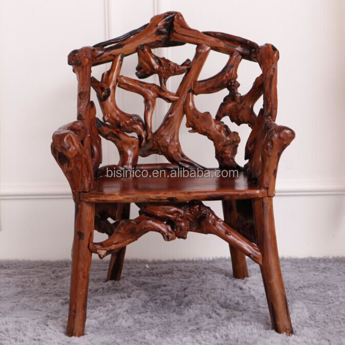 Southeast Asia Style Root Carved Single Seater Chair, Environmental Protective Solid Wood Root Furniture Chair (BF01-X1167)