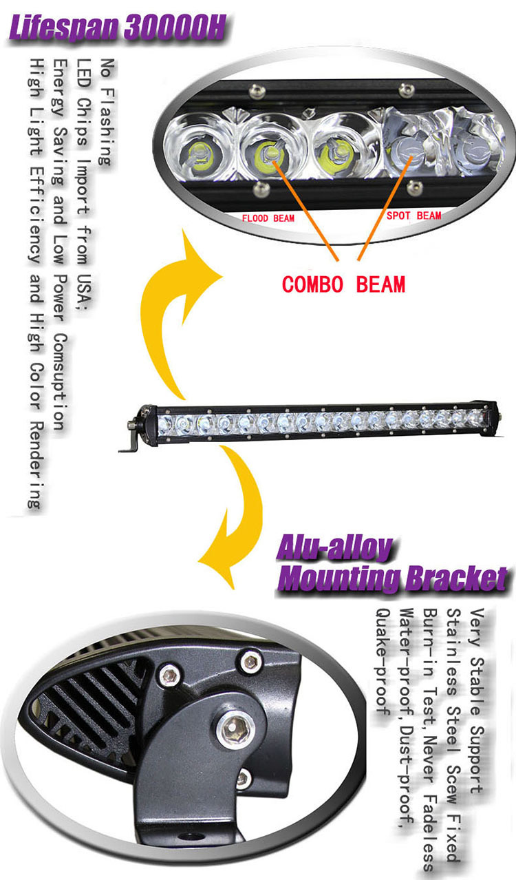 2015 new product curved led offroad light bar 180W very slim car roof top light bar