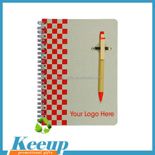 Eco-friendly coil spiral Notebook with ballpoint pen for Promo products