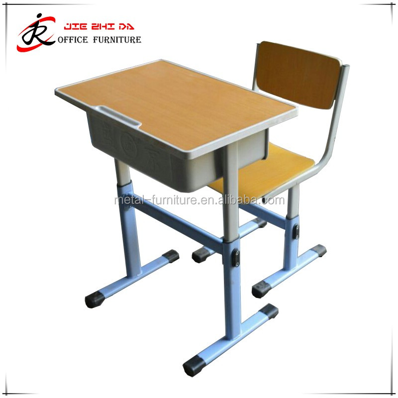 School furniture Wood single seat student desk and chair set