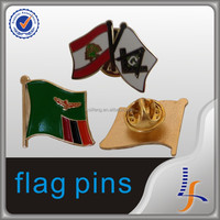 metal pin enamel wholesale flower pins double flag pins