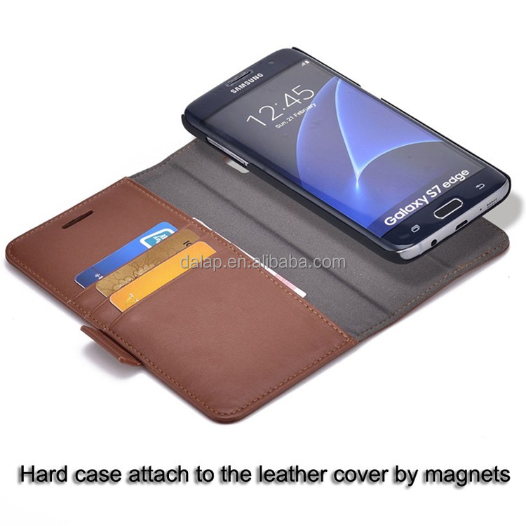 Free sample detachable flip wallet leather case for samsung galaxy s7