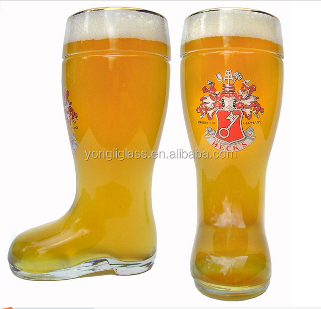 Hot selling German boot shaped beer glass cup , large volume glass beer mugs, drinking bar glass