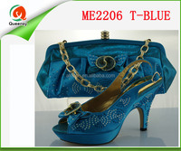 ME2206 lady fashion Italian shoes with matching bags light T-blue color size 38-42