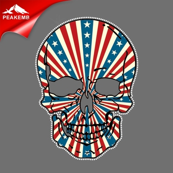 4th of July rhinestone iron on custom skull printing pu vinyl  heat transfers