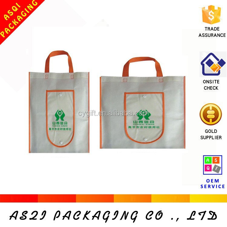 custom recycle reusable foldable nonwoven promotional bag with pocket