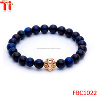 Royal bule lion head glass bead mens friendship bracelets for sale
